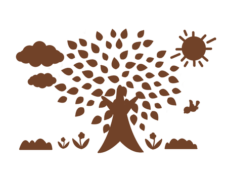 Landscape with trees Brown silhouette
