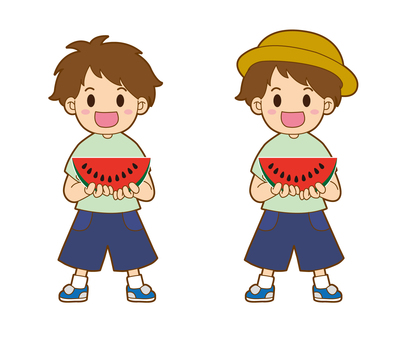 Small boy with watermelon