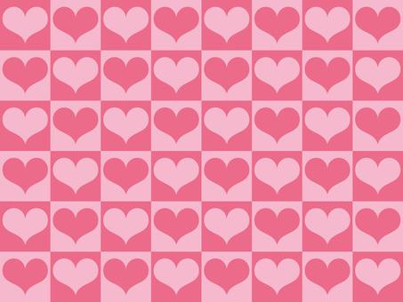 블록 체크 × 하트 (핑크)