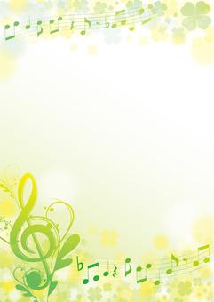 菜の花カラー春の優雅な音符フレーム
