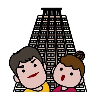 A couple looking at a high-rise apartment