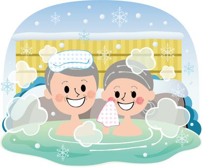 與祖父祖母的冬天溫泉背景