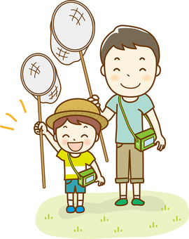 Parent and child to take insects