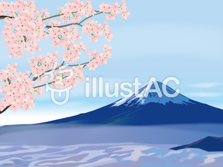 桜と富士山イメージのイラスト