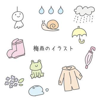 逗人喜愛的雨季手畫例證集合顏色