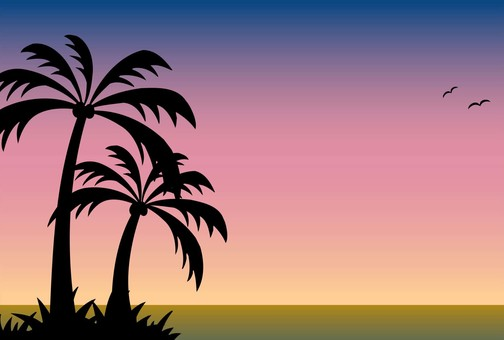 Sea / palm tree / sunset 2