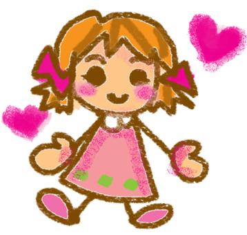 Hand-drawn wind girl
