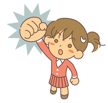 A woman shouting at a positive fist