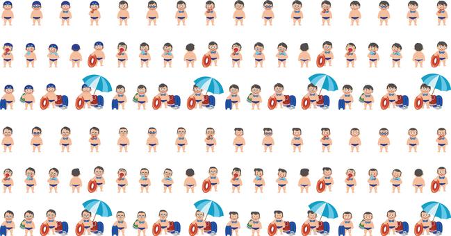 水泳男子イラスト素材詰め合わせセット