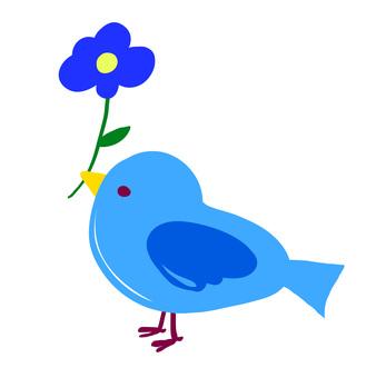 Bird material Blue bird and flower
