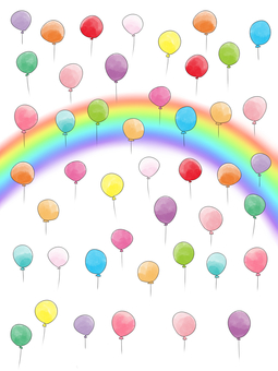 A sky full of balloons and a rainbow 2