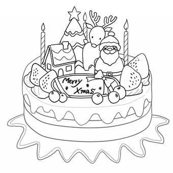 圣诞节蛋糕1线描
