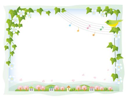 덩굴 잎 프레임과 봄 풍경