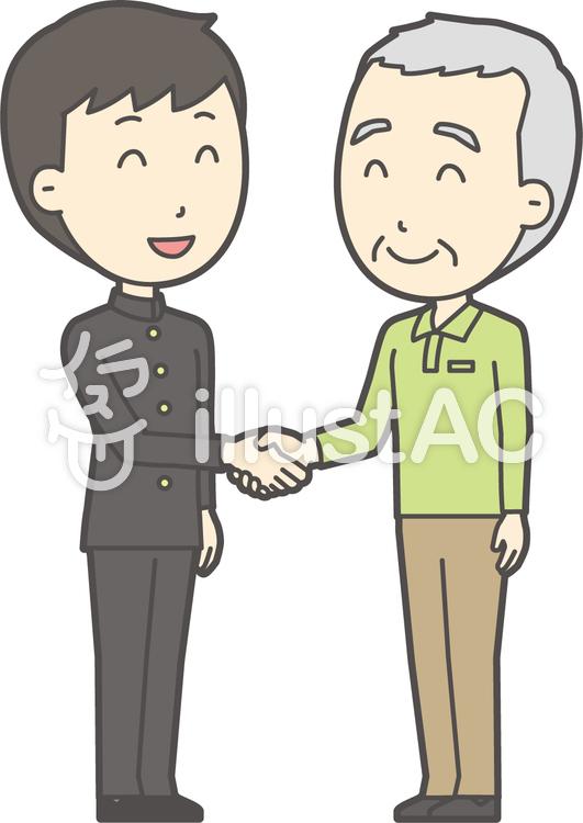 老人男性握手-036-全身のイラスト
