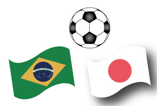 Football Ball and Brazilian flag and Japanese flag