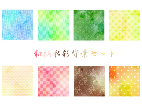 Japanese pattern water color background set ver 02