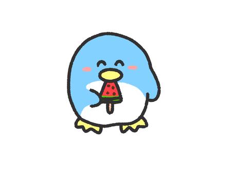 Penguin eating ice