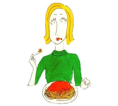 Girl eating pasta