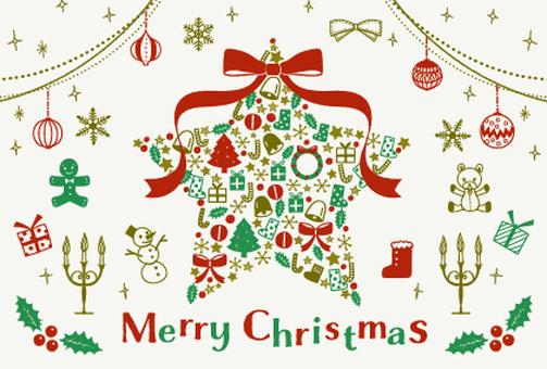 クリスマス/手描きイラストセット/スター