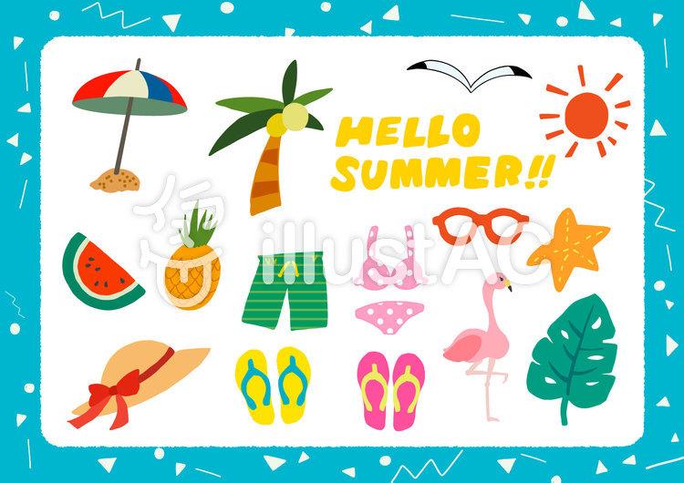 【夏】フリーイラスト セットのイラスト
