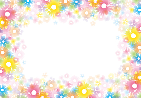 Glittering clear flower frame 2