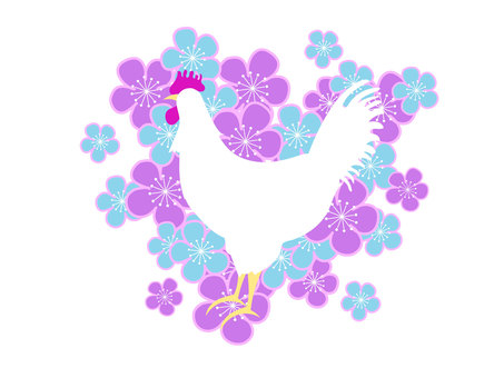 Rooster and plum blossoms