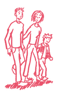 Hand-drawn family walking
