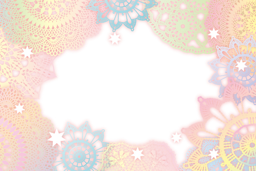 Pastel color frame of lace
