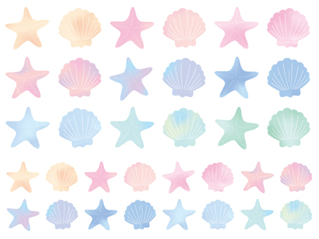 Shell watercolor colorful set