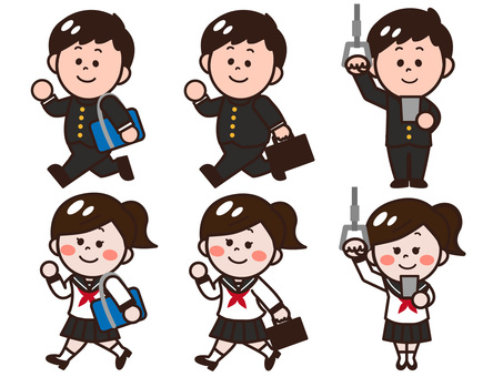 Students going to school to school (sailor uniforms / school runs)