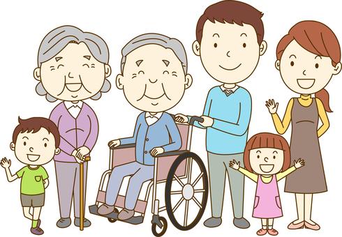 Wheelchair Grandpa / 6 people family