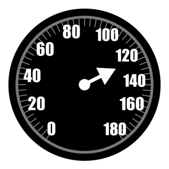 Car speedometer (speeding off)