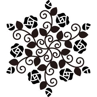 Roses hexagon - Silhouette