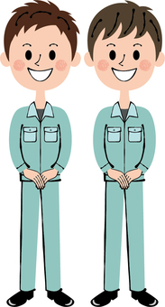Worker Green Two males Front guidance Full-body smile