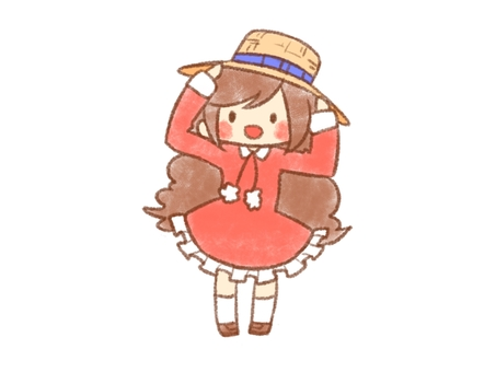 Girl wearing a straw hat