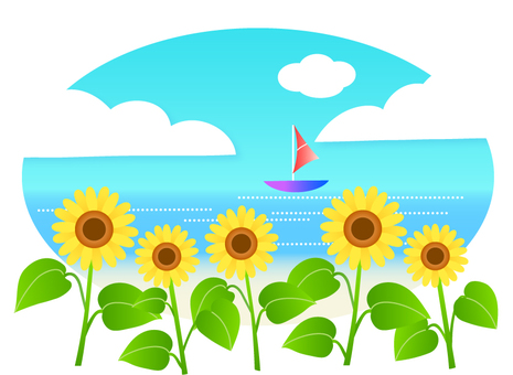 Sunflower and the sea of ​​summer