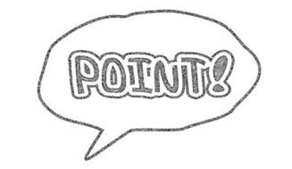 """""""POINT!"""" Handwriting style balloon"""