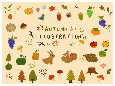 Autumn plants and animals illustration set