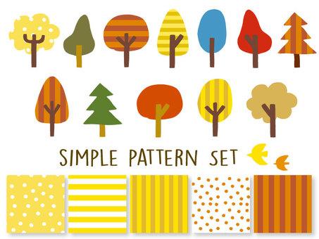 秋色 シンプル パターン セット