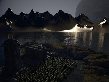 双子惑星基地の夜