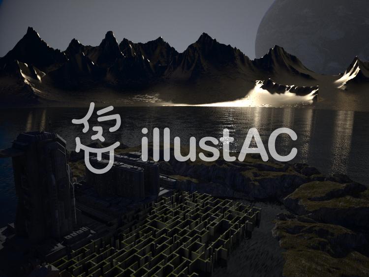 双子惑星基地の夜のイラスト