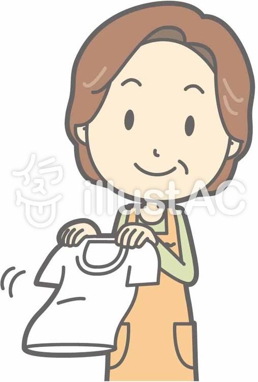 中年主婦a-洗濯干し-バストのイラスト