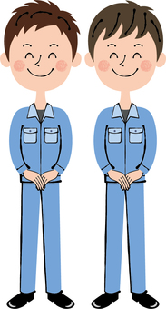 Worker blue Two males Front guidance Smile full body
