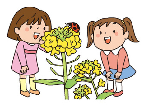 Rape flowers and two girls