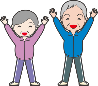 An old lady raising both hands and an old gentleman
