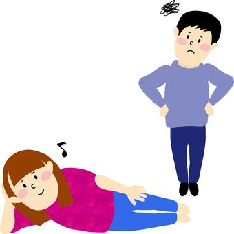 Husband who lie down