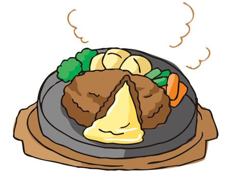 Cheese in hamburger steak