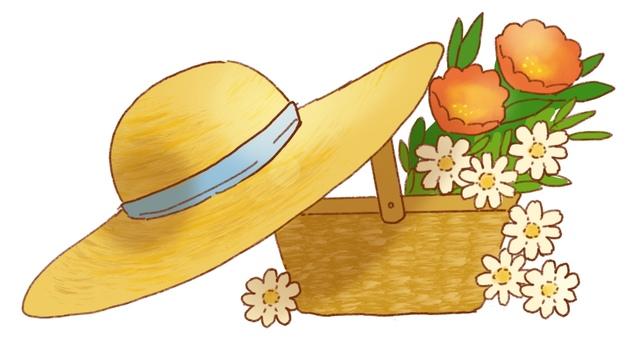 밀짚 모자와 꽃 바구니