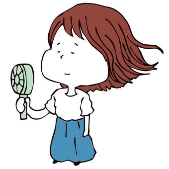 Woman with handy fan