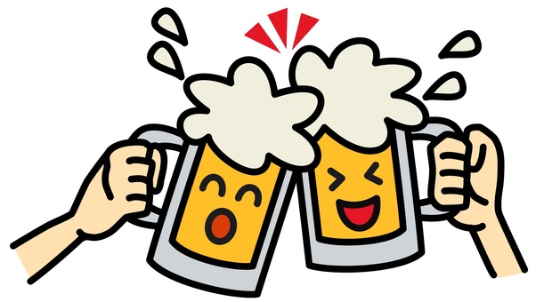 Beer toast smile
